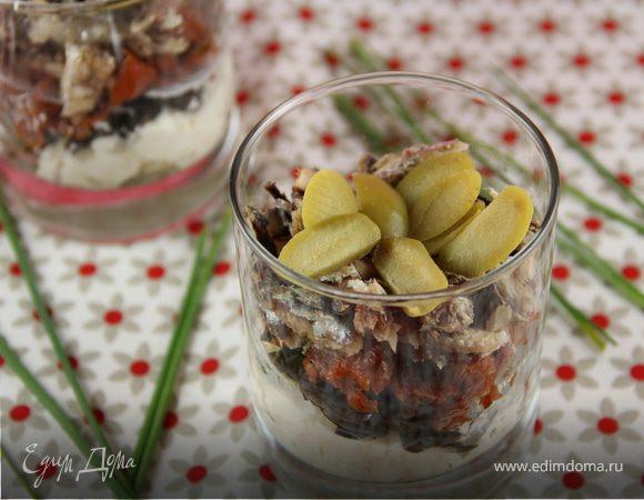 Веррины с козьим сыром, маслинами, вялеными томатами и сардинами