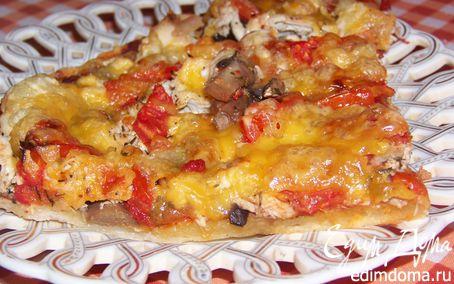 Рецепт Пиица с томатами, грибами и курицей