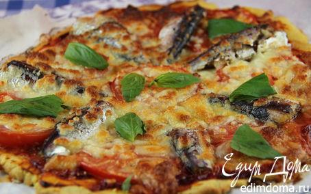 Рецепт Пицца на кукурузном тесте с сардинами, томатами и моцареллой