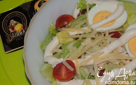 Рецепт Зеленый салат с куриной грудкой, черри и сыром Джюгас