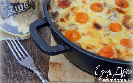 Рецепт Куриная запеканка из спагетти под корочкой из сыра Джюгас