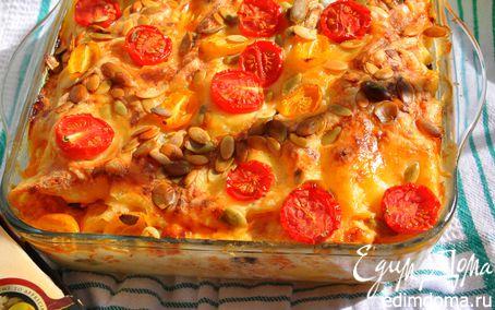 Рецепт Лазанья с кабачками и помидорами с сыром Джюгас