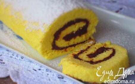 Рецепт Бисквитный рулет с шоколадной пастой