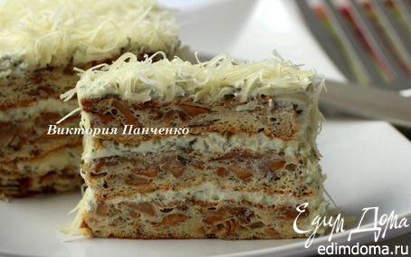 Рецепт Закусочный бисквитный торт с лисичками, творожным кремом и сыром Джюгас