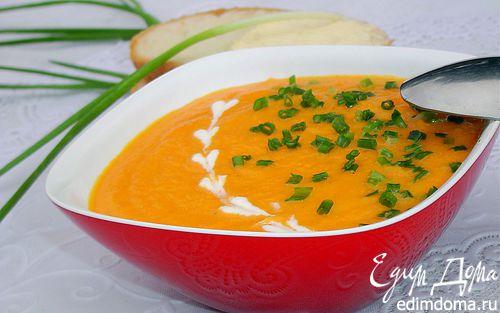 Рецепт Морковный суп-пюре с зеленым луком (Сrema di carote all erba cipollina)
