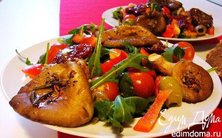 Рецепт Теплый салат с устричными вешенками и руколой