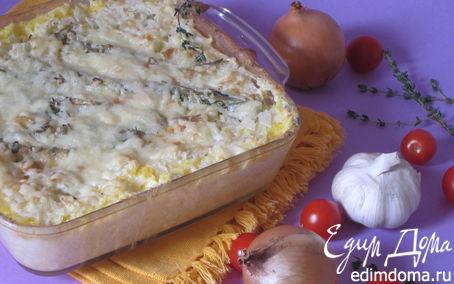 Рецепт Рыба, запеченная с кукурузной крупой и сыром Джюгас