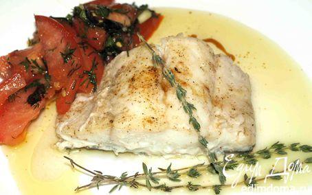 """Рецепт Треска с соусом """"Марсала"""" и салат из помидоров с базиликом"""