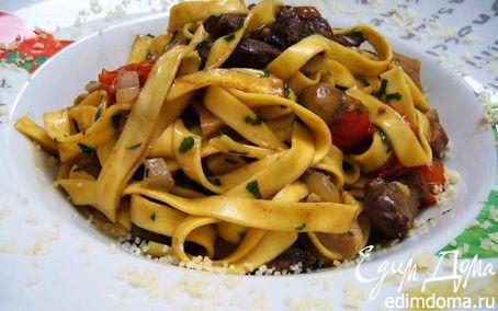 Рецепт Домашняя лапша с говядиной и белыми грибами в сливочном соусе (Tagliatelle panna porcini e boccon...