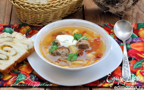 Рецепт Итальянский суп с фрикадельками и вялеными помидорами