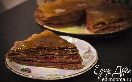Рецепт Блинный вишнево-шоколадный торт
