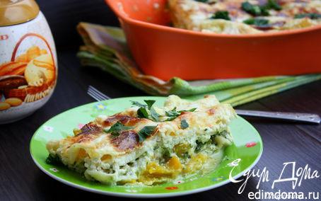 Рецепт Лазанья с тыквой и шпинатом под соусом из рикотты
