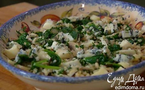 Рецепт Рис с горгонзолой, шампиньонами и шпинатом