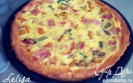 Рецепт Тыквенная запеканка со спаржей, с сырной корочкой и колбаской из индейки