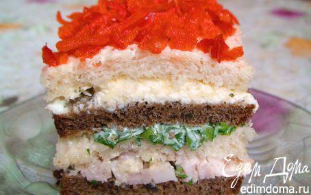 Рецепт Бутербродный тортик с окороком и яйцом