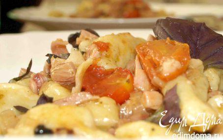 Рецепт Картофельные ньокки (клецки) с помидорами черри и копченой курицей