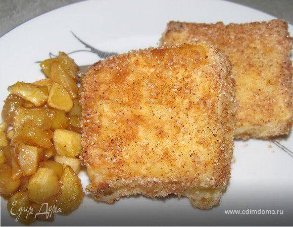 """""""Жареное молоко"""" с карамелизированными яблоками.(Leche Frita)"""