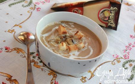 Рецепт Крем-суп из шампиньонов с белыми грибами и сыром Джюгас
