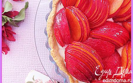 Рецепт Тарт с манным пудингом и персиками (нектаринами)