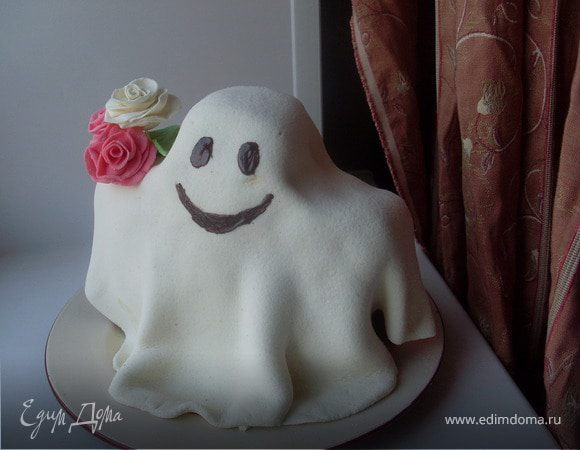 "Торт-кекс ""Дружелюбное привидение"" на Хэллоуин"