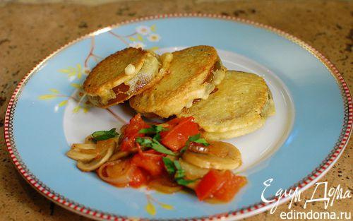 Рецепт Шампиньоны с зеленым помидором, жаренным в кляре