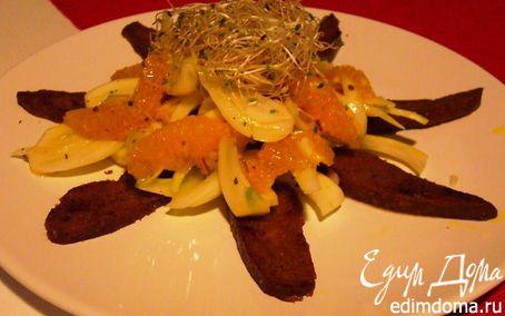 Рецепт Салат из фенхеля и апельсина с жареным сейтаном