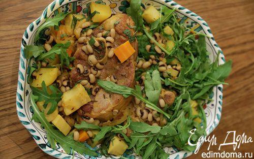 Рецепт Баранина с фасолью, сельдереем и руколой