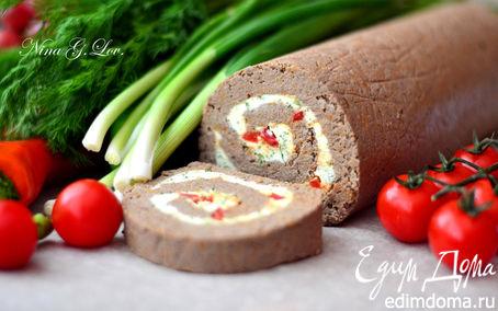 Рецепт Рулет из отварной печени с пикантной сливочной начинкой