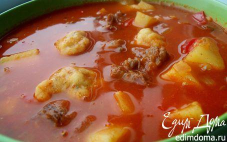 Рецепт Суп-гуляш с чесночными клецками