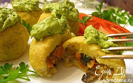 Рецепт Картофельные зразы с грибами, запеченные в духовке с луковым соусом (без муки)