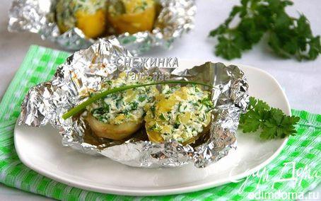 Рецепт Печеный картофель, фаршированный начинкой из рикотты, шпината и зелени