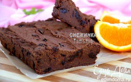 Рецепт Шоколадный кекс на гречневой муке и тыквенно-апельсиновом соке с черносливом и изюмом