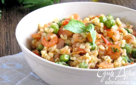 Рецепт Булгур с креветками и зеленым горошком