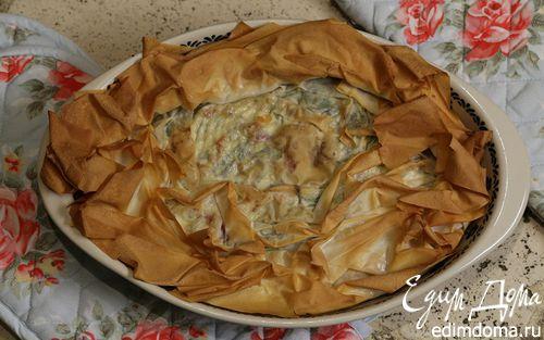 Рецепт Хрустящий пирог со шпинатом и творогом