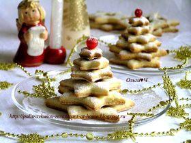 """Творожное печенье с лимонной цедрой и вишневым конфитюром """"Елочки"""" и """"Звездочки"""""""