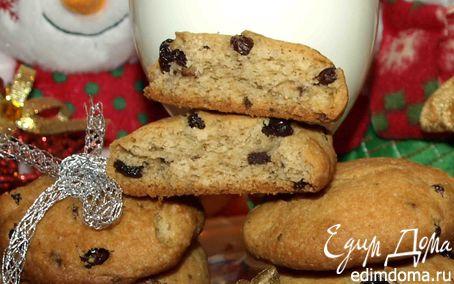 Рецепт Печенье с шоколадной крошкой и изюмом в коньяке для Деда Мороза