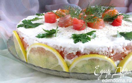"""Рецепт Закусочный торт """"Розовый сад"""""""
