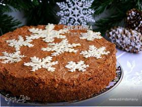 """Наш новогодний торт """"Наполеон шоколадный с вишней"""""""