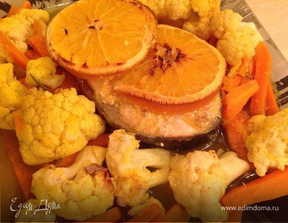 Семга в апельсиновом соусе с гарниром из цветной капусты