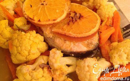 Рецепт Семга в апельсиновом соусе с гарниром из цветной капусты