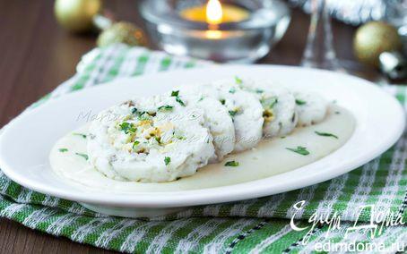 Рецепт Тяпаное тельное с яйцом и луком под соусом бешамель