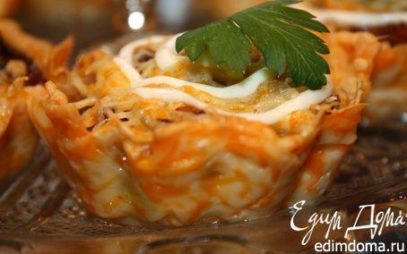 Рецепт Сырная корзиночка с грибами