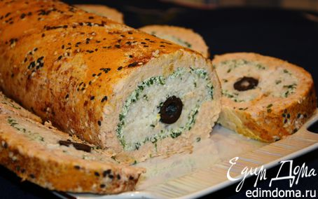 Рецепт Трехслойный рыбный рулет с маслинами