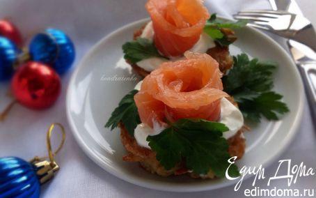 Рецепт Деруны с крем-фрешем и слабосоленой семгой