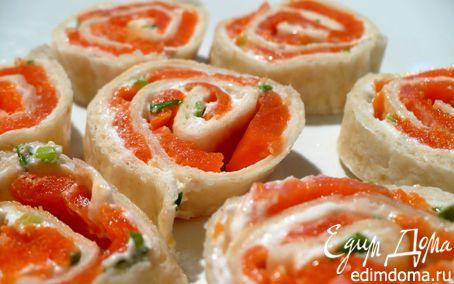 Рецепт Закусочные рулеты с копченым лососем