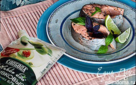 Рецепт Холодный припущенный лосось под майонезом с травами