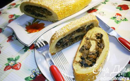 Рецепт Картофельный рулет с шампиньонами и квашеной капустой