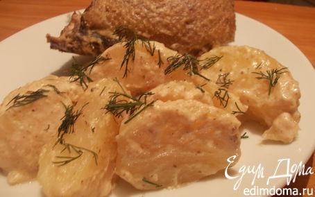 Рецепт Утка с картофелем в сметане с чесноком