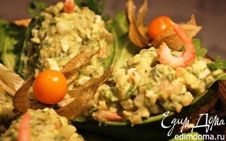 Рецепт Закуска из авокадо, груши и креветок