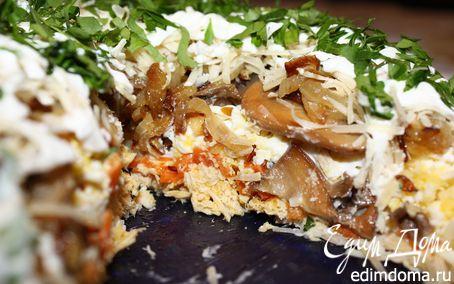 Рецепт Слоеный салат под сырной шубой
